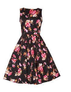 Dolly & Dotty Annie Black Floral 50s Swing Dress 8-24