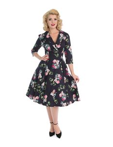Hearts Roses Marietta Purple Floral 40s 50s Swing Dress