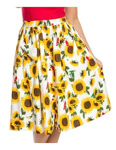Lindy Bop 'Adalene' Sunflower Print Swing Skirt