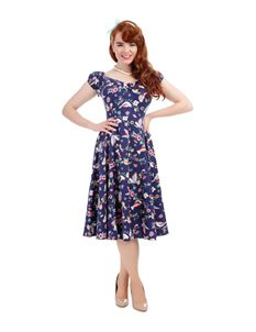 Collectif Dolores 50s Style Navy Blue Floral Dress