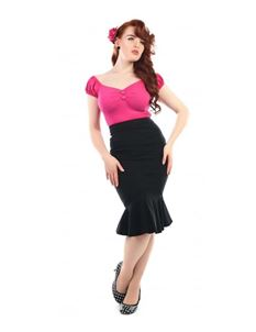 Collectif Winifred Fishtail Skirt In Black