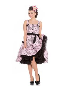 Hell Bunny Keepsake Alchemy Skull 50s Style Pink Dress