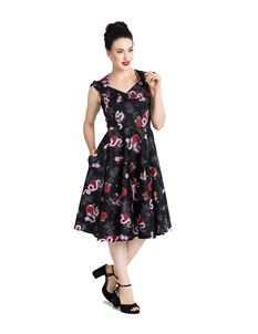 Hell Bunny Python Rose 50s Vintage Style Floral Dress