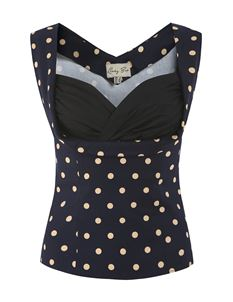 Lindy Bop Dorelia Navy/Beige Polka Dot Top