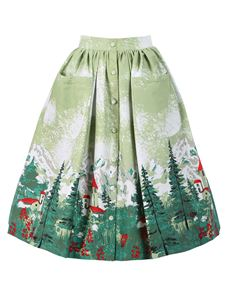 Lindy Bop Adalene Green Alpine Print Swing Skirt