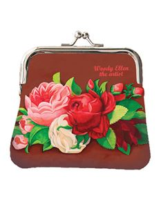 Woody Ellen Red Paris Floral Vintage Style Retro Coin Purse