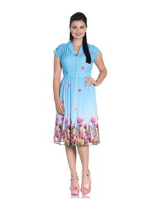 Hell Bunny 40's Style Tea Dress In Blue Floral Chiffon