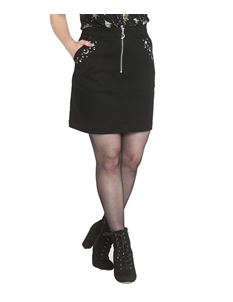 Hell Bunny Interstellar Moon Crescent Zip Mini Skirt