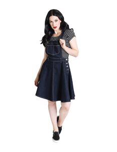 Hell Bunny Dakota Denim Pinafore Mini Dress