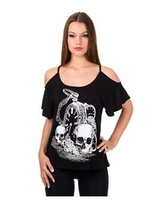 Banned Skull Watch Short Sleeve T-Shirt Top Black