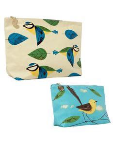 Magpie Birdy Blue Tit and Wagtail Set of Two - Wash and Make Up Bags