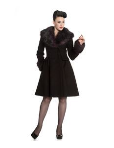 Hell Bunny Rock Noir Faux Fur Collar Coat Black Purple