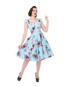 Hearts And Roses 50s Ballet Light Blue Floral Dress