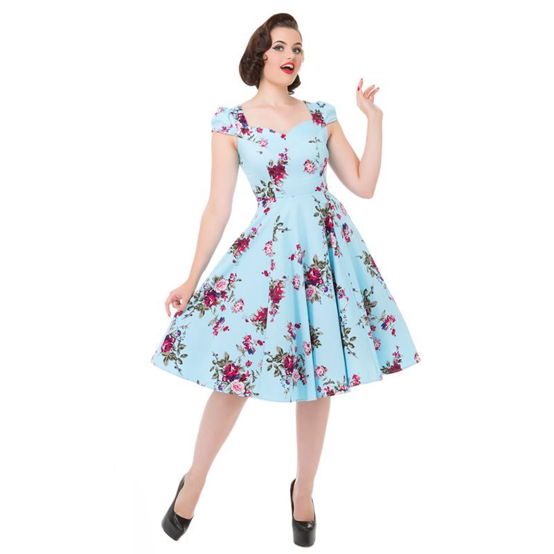 627a63071d Hearts And Roses 50s Ballet Light Blue Floral Dress