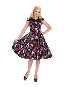 Hearts & Roses Psychobilly Skulls & Roses Tea Dress