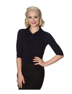 Banned 40s 50s April Navy Blue Cardigan