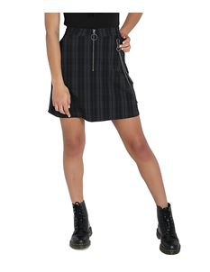 Hell Bunny Storm Alternative Mini Skirt Grey Tartan