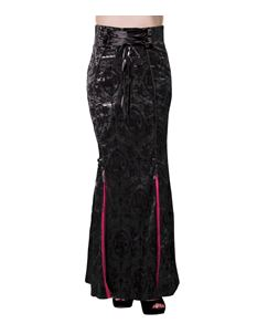 Banned Gothic Ivy Rose Flocked Satin Fishtail Long Skirt