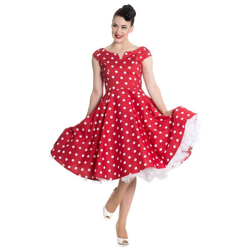 5320f89d66f5 Hell Bunny 50s Nicky Vintage Style Polka Dot Rockabilly Dress