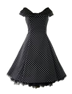 H&R London 50's Collar Dress Small Polka Dot White