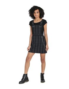 Hell Bunny Storm Pinafore Mini Dress Grey Tartan