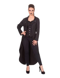 Banned Zone Out Waistcoat Tail Alternative Dress Coat Black