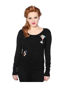 Banned 50s Rockabilly Style Black Cocktail Cardigan