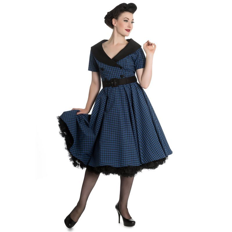 38c8432a4a44 Hell Bunny Bridget 50s Gingham Check Rockabilly Dress Blue