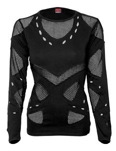 Spiral Direct Mesh Holes Grunge Alternative LS Top