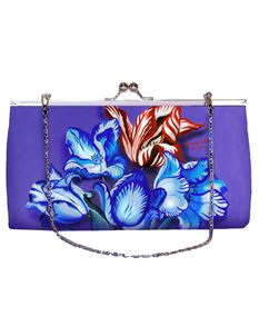 Woody Ellen 50s Style Porcelain Tulip Floral Clutch Shoulder Bag