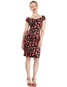 Collectif Dolores Cherry Polka Dot Print Pencil Dress