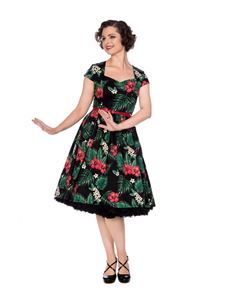 Banned 50s Tiki Black Green Hibiscus Floral Dress