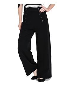 Hell Bunny Carlie 40s Black Wide Leg Swing Trousers