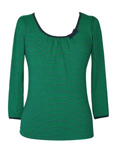 Friday On My Mind Sailor 3/4 Nautical Striped Jersey Green Top