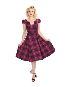 Hearts & Roses Purple Tartan Tea Dress