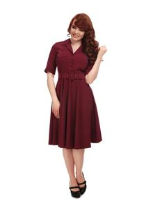 Collectif 40s & 50s Style Zoe Wine Red Swing Dress
