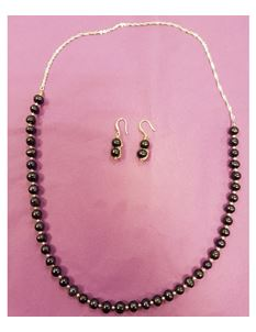 Hand Made Freshwater Black Pearl Necklace & Earrings