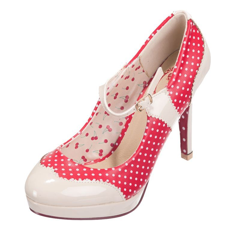 Dancing Days Mary Jane Patent Polka 50s Style Shoes Red & Nude