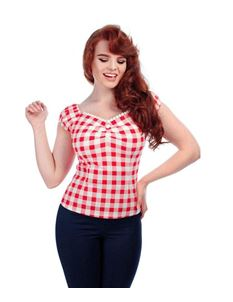 Collectif Dolores 50s Gypsy Style Red White Gingham Top