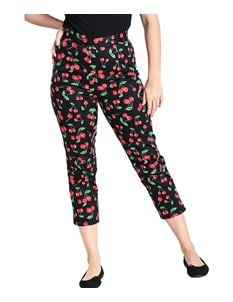 Hell Bunny Sweetie Cherry 50s Cigarette Capri Trousers
