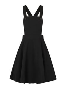 Hell Bunny Amelie Mini Black Mustard Pinafore Dress