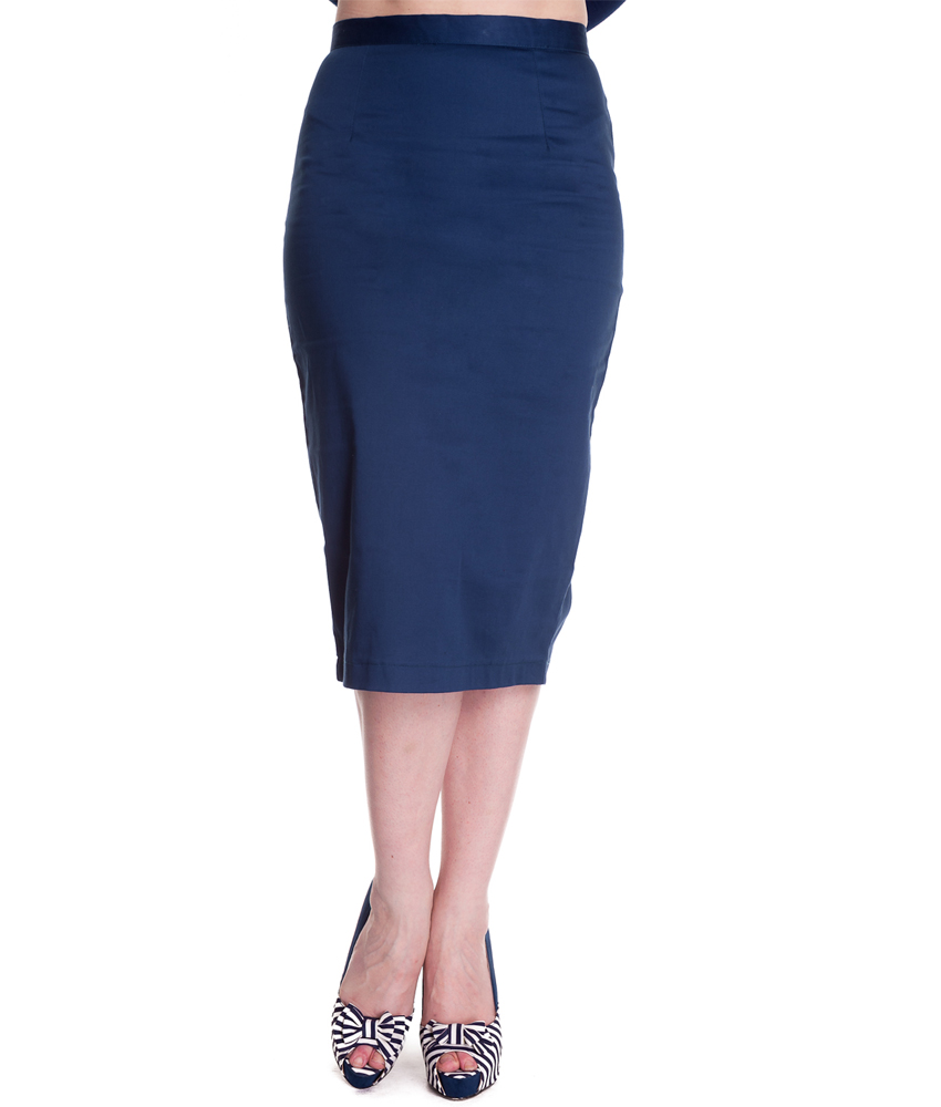 navy and white pencil skirt dress