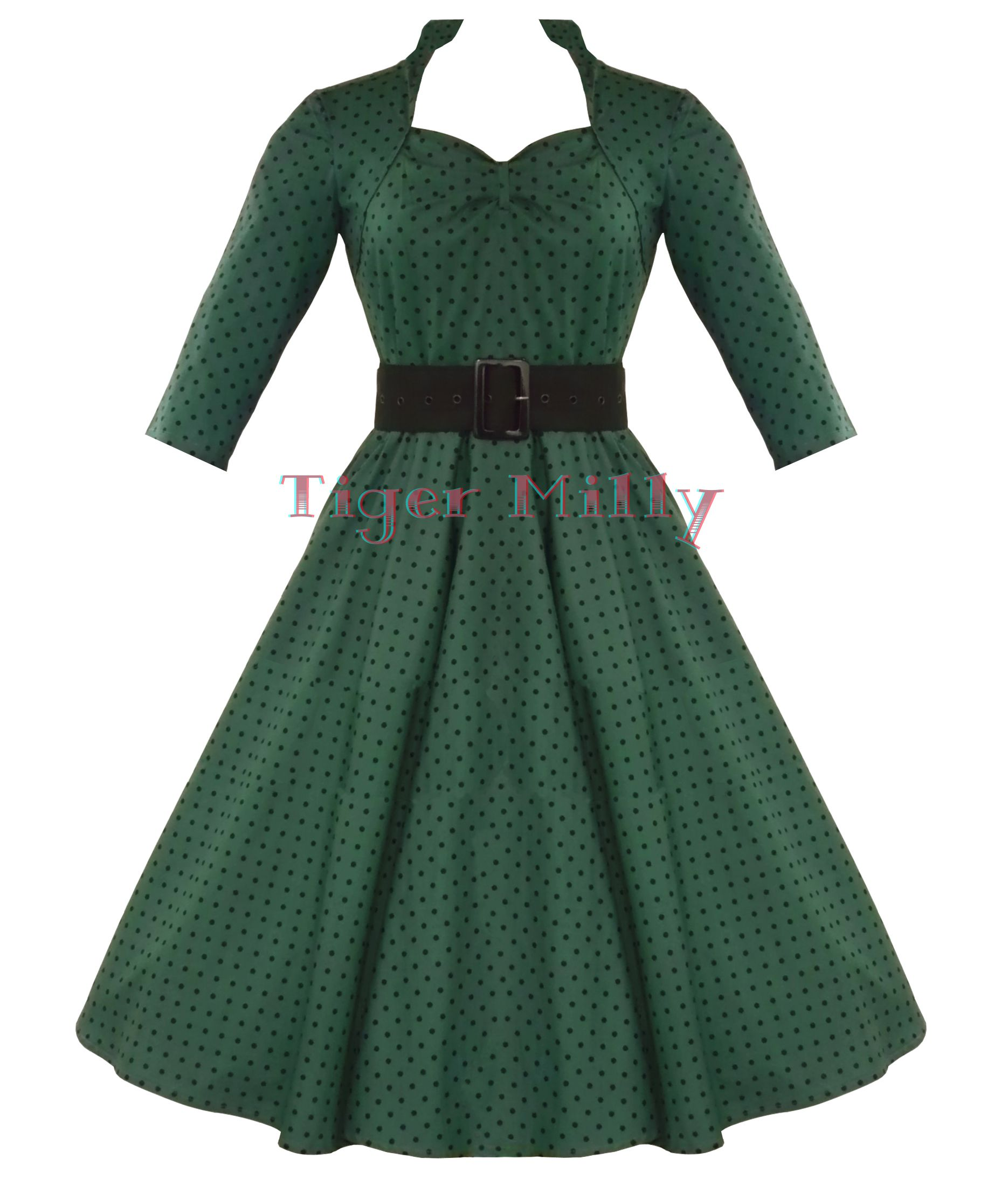 HELL BUNNY 50's rockabilly MOMO vintage polka dot DRESS GREEN