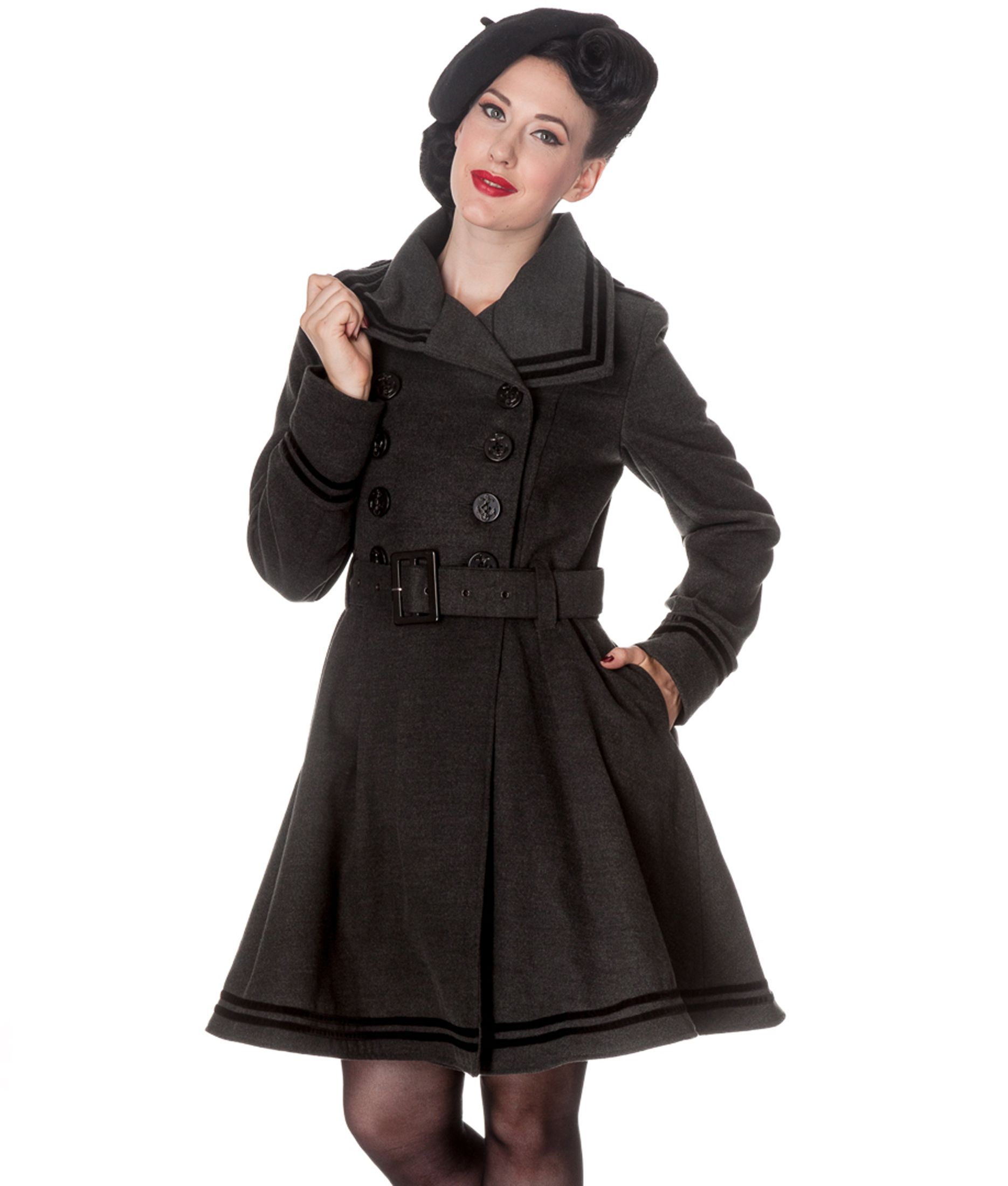 HELL BUNNY winter MILLIE nautical COAT jacket GREY