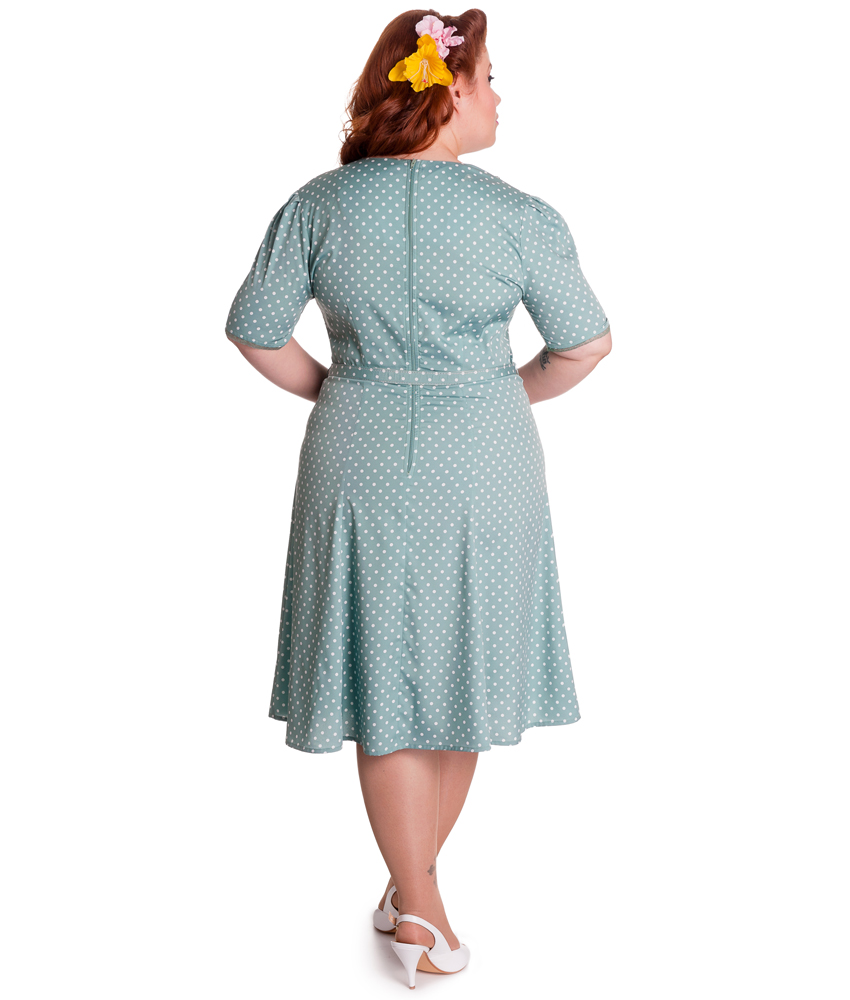 HELL BUNNY 40s JENNIFER WW2 wartime POLKA DOT tea DRESS GREEN
