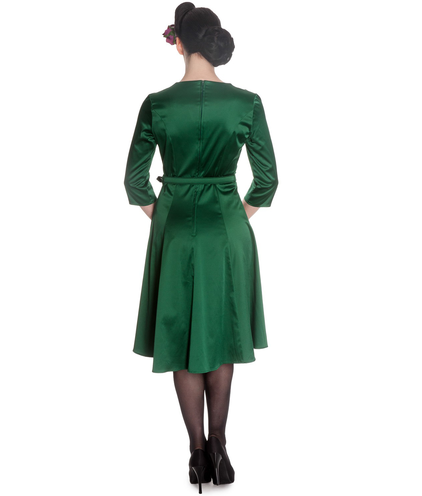 Hell bunny mylene 40s wartime style green satin dress for Style green