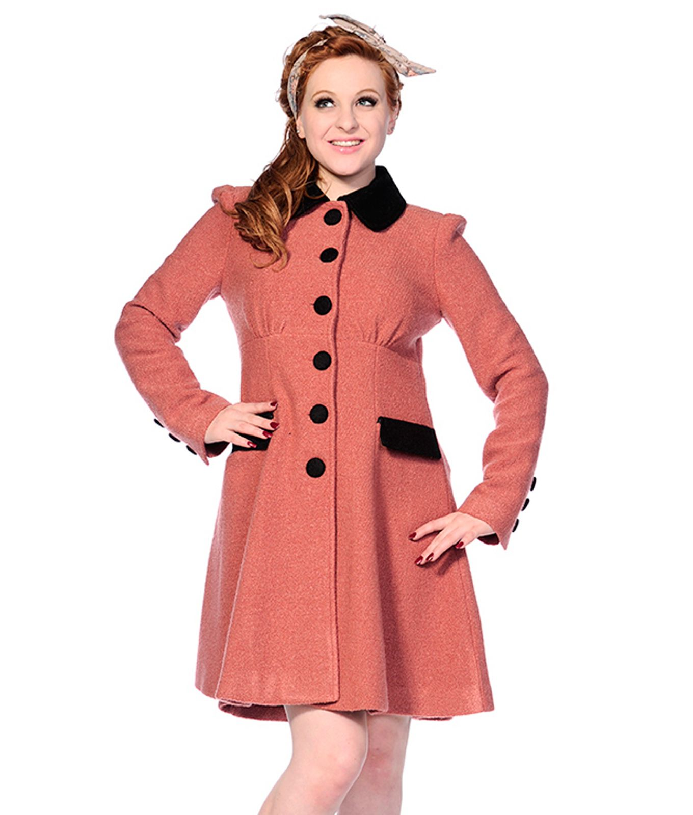 Banned Vintage Style 40s 50s Wool Mix Coat Dusky Pink