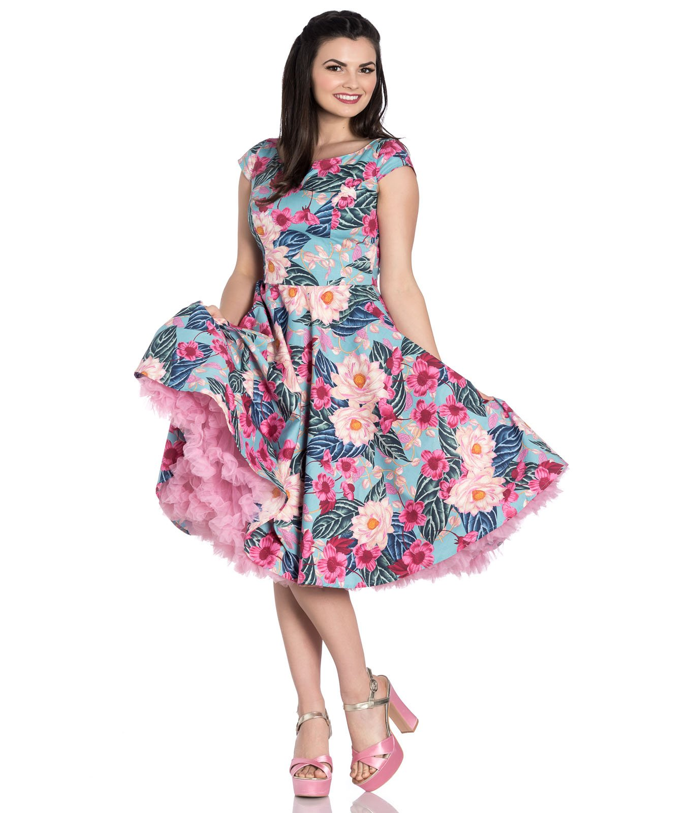 Hell Bunny Lotus Fl 50s Style Summer Dress