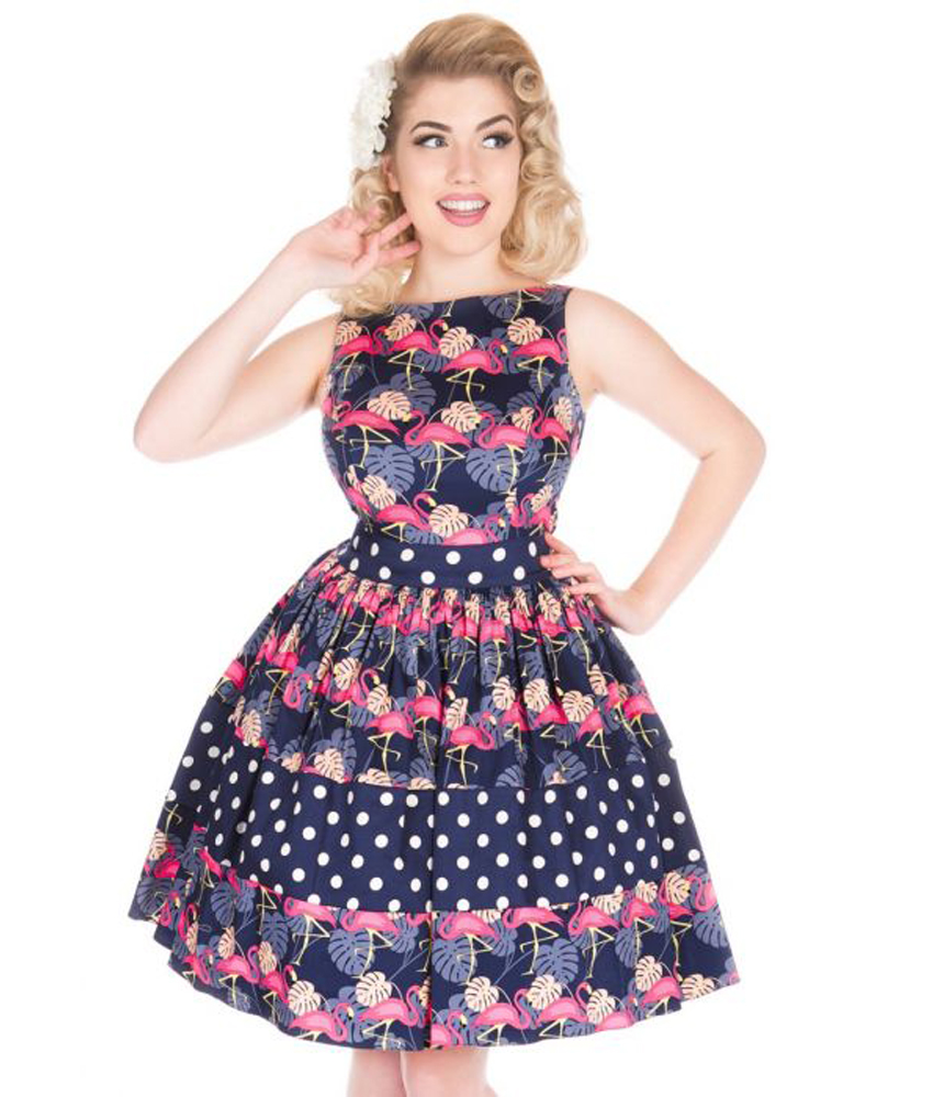 08803d00c0c4 Lady Vintage Pretty In Pink Flamingos Dinah Tea Dress