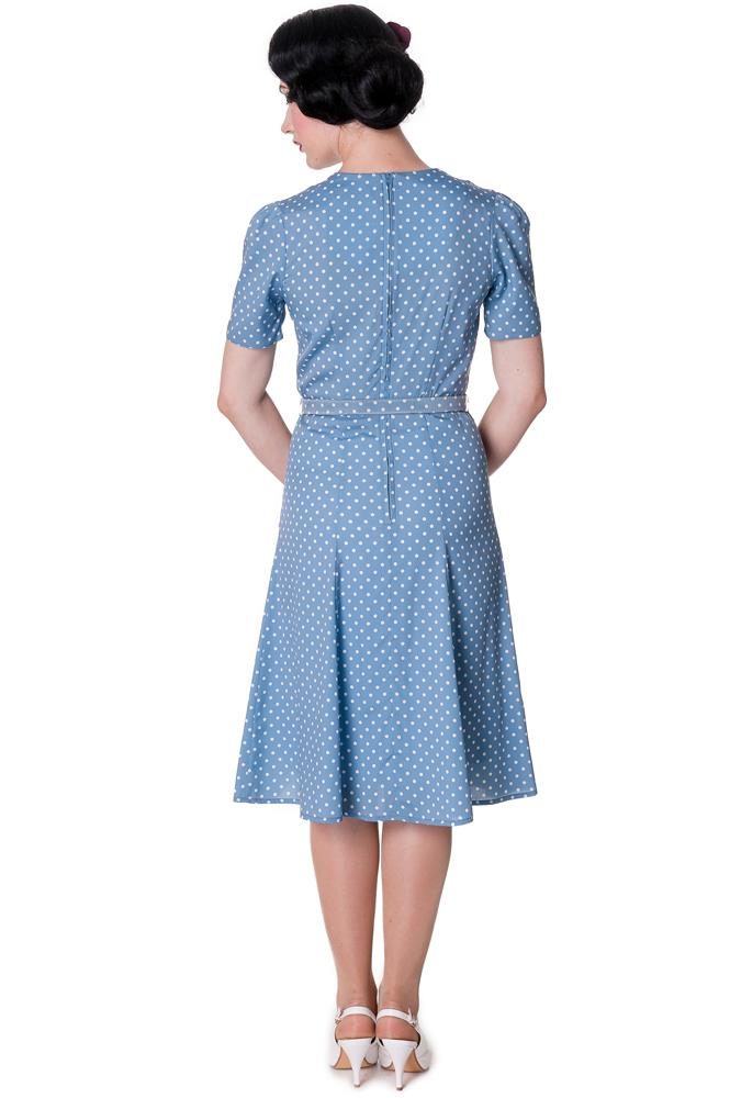 HELL BUNNY 40s JENNIFER WW2 wartime POLKA DOT tea DRESS BLUE